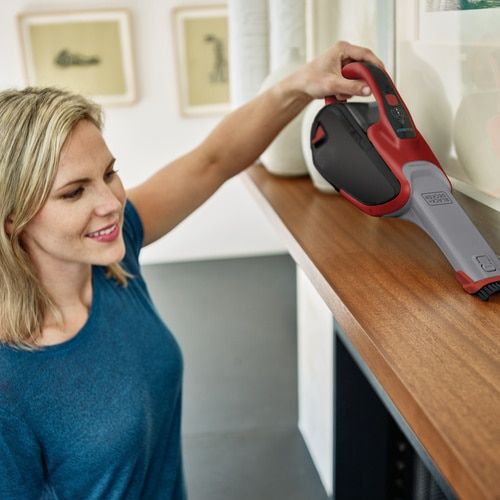 Black and Decker - dustbuster Hand Vacuum Chili Red  Base Charger with SMARTECH - HHVJ320BMF26