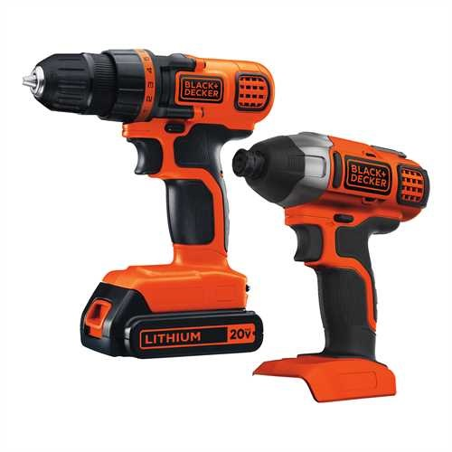 Black and Decker - 20V MAX Lithium Ion DrillDriver  Impact Combo Kit - BD2KITCDDI