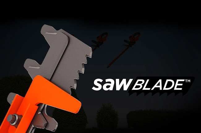 Close up of unique SAWBLADE™ teeth feature on hedge trimmer