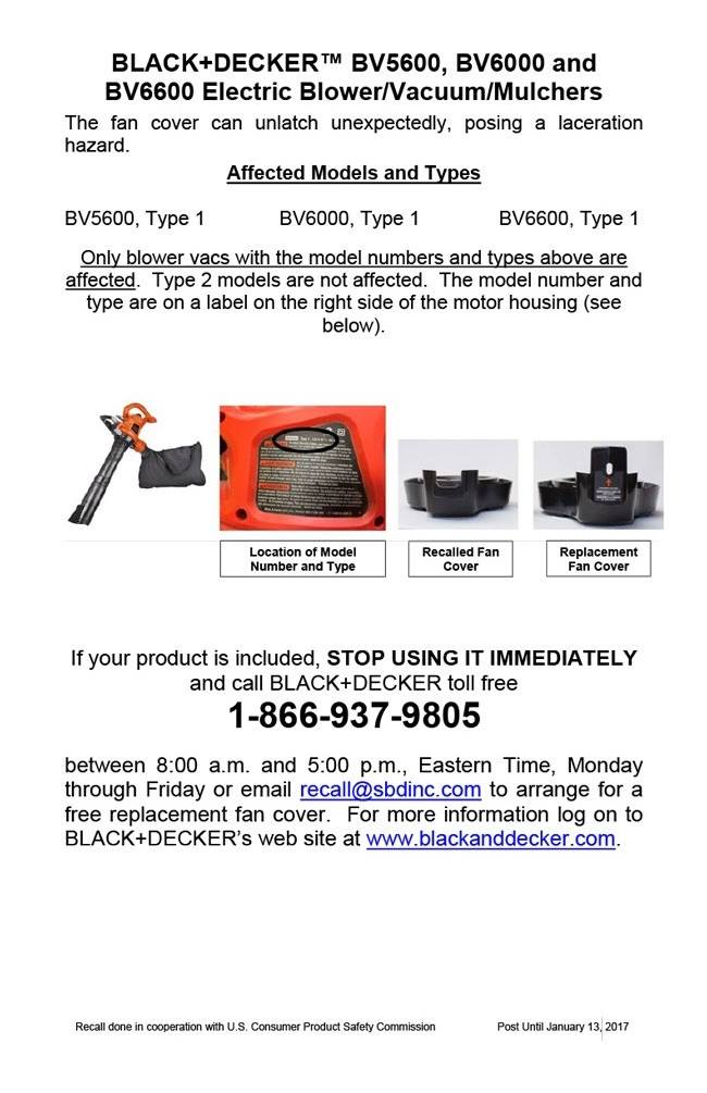 BLACK+DECKER Safety Notice BV5600 BV6000 BV6600
